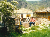 В двора на Ковачевица с двамата ми кумци Ясен Бояджиев и Петко Георгиев